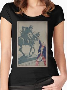 Uncle Sam shaking hands with the marquis de Lafayette 1757 1834 Women's Fitted Scoop T-Shirt