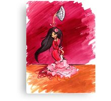 Spanish Flamenco Dancer (gouache painting) Canvas Print