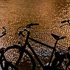 Sunset silhouette bicycles by Michael Brewer