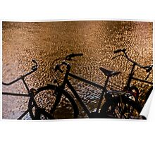Sunset silhouette bicycles Poster