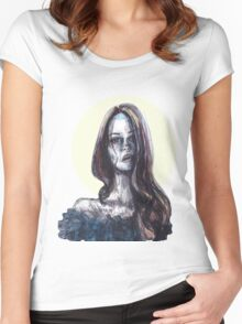 mixed media portrait Women's Fitted Scoop T-Shirt