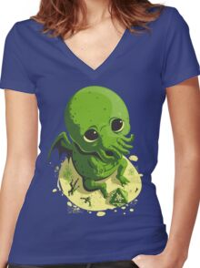 HE JUST WANTS TO PLAY Women's Fitted V-Neck T-Shirt