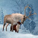 Reindeer And Fawn Winter Scenery by Moonlake