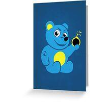 Evil Tattooed Cartoon Teddy Bear Greeting Card