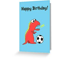 Funny Cartoon Dinosaur Soccer Birthday Card Greeting Card