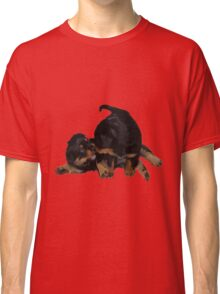 Rottweiler Puppies Playing Vector Isolated Classic T-Shirt