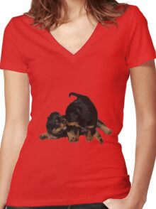 Rottweiler Puppies Playing Vector Isolated Women's Fitted V-Neck T-Shirt