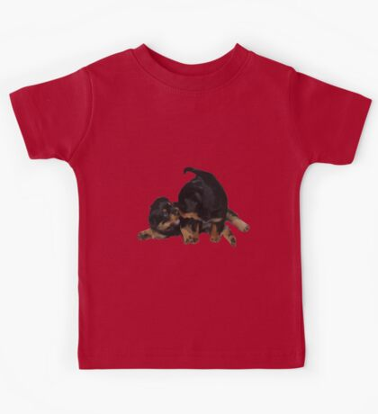 Rottweiler Puppies Playing Vector Isolated Kids Tee