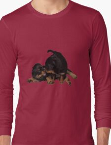 Rottweiler Puppies Playing Vector Isolated Long Sleeve T-Shirt