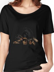 Rottweiler Puppies Playing Vector Isolated Women's Relaxed Fit T-Shirt