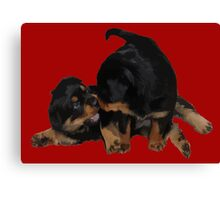 Rottweiler Puppies Playing Vector Isolated Canvas Print