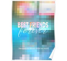 Best Friends Forever Pastel Mosaic Stained Glass Poster