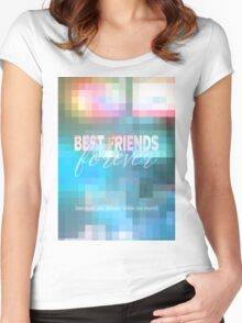 Best Friends Forever Pastel Mosaic Stained Glass Women's Fitted Scoop T-Shirt