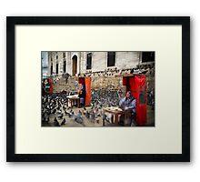 Pigeon Feeders, Istanbul, Eminonu, Mosque Framed Print