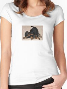 Rottweiler Puppies Playing Women's Fitted Scoop T-Shirt