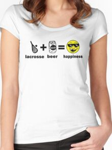 Lacrosse + Beer = Happiness Women's Fitted Scoop T-Shirt