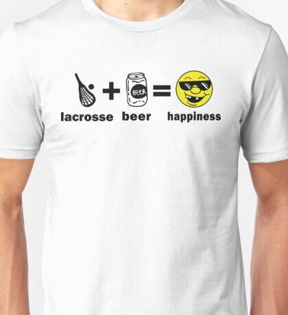 Lacrosse + Beer = Happiness Unisex T-Shirt