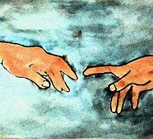From Sistine Chapel,   God and Adam,  touching, watercolor by Anna  Lewis