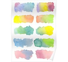 Hand-Painted Watercolor Colorful Gradation Rainbow Labels Poster