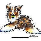 Red Merle Australian Shepherd Let&#x27;s Play by offleashart