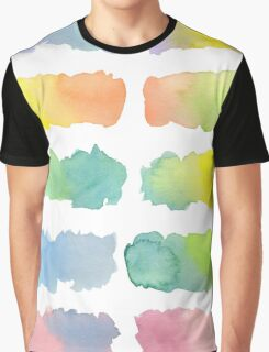 Hand-Painted Watercolor Colorful Gradation Rainbow Labels Graphic T-Shirt
