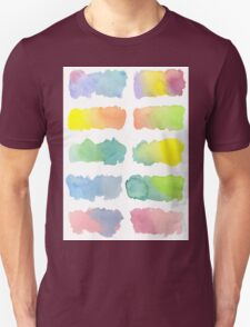 Hand-Painted Watercolor Colorful Gradation Rainbow Labels T-Shirt