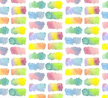 Hand-Painted Watercolor Colorful Gradation Rainbow Labels by Beverly Claire Kaiya
