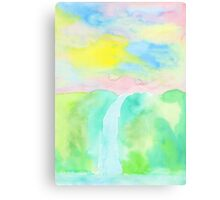 Watercolor Hand-Drawn Colorful Waterfall Painting in Pastel Tones Metal Print
