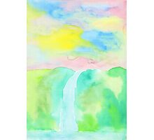 Watercolor Hand-Drawn Colorful Waterfall Painting in Pastel Tones Photographic Print