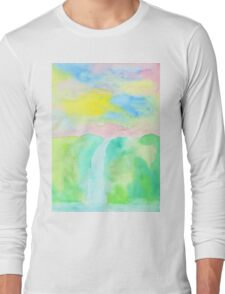 Watercolor Hand-Drawn Colorful Waterfall Painting in Pastel Tones Long Sleeve T-Shirt