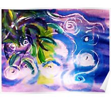The ripple effect after the rain on the pond, watercolor Poster