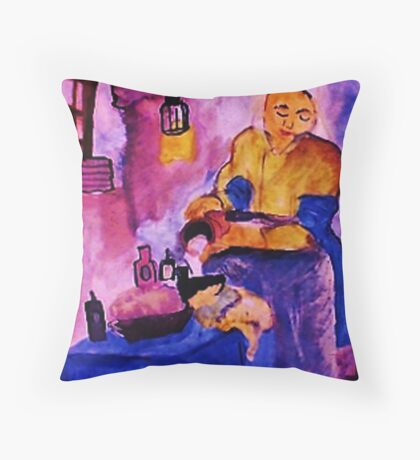 A Vermeer,  pouring milk , watercolor Throw Pillow
