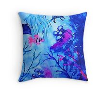 Life under water, watercolor Throw Pillow