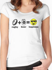 Rugby + Beer = Happiness Women's Fitted Scoop T-Shirt