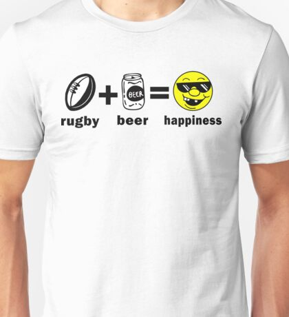 Rugby + Beer = Happiness Unisex T-Shirt