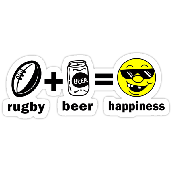 Rugby + Beer = Happiness by SportsT-Shirts