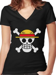 Straw Hat Pirates Logo Women's Fitted V-Neck T-Shirt