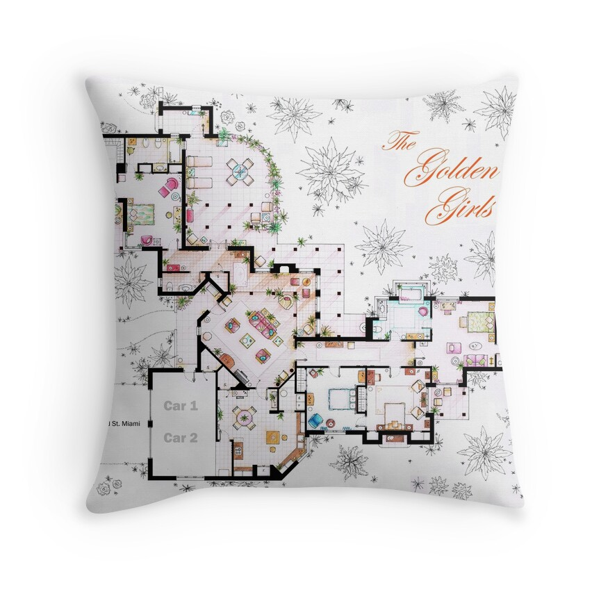 The Golden Girls House Floorplan V 1 Throw Pillows By