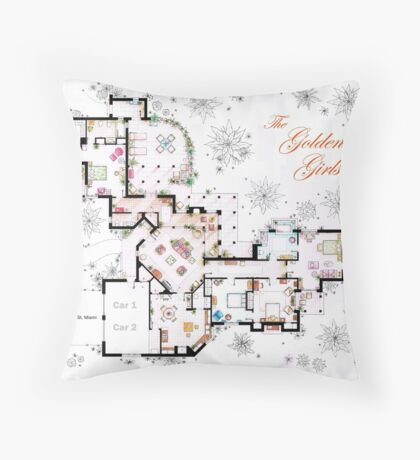 The Golden Girls House floorplan v.1 Throw Pillow