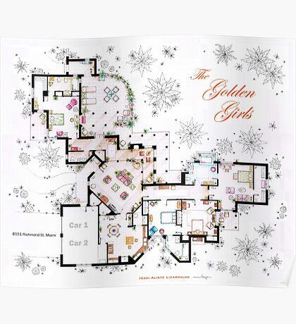 The Golden Girls House floorplan v.2 Poster
