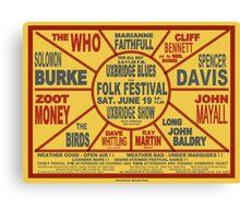 Vintage 1965 poster - Uxbridge Blues and Folk Festival Canvas Print