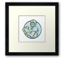American Football QB Throwing Circle Etching Framed Print