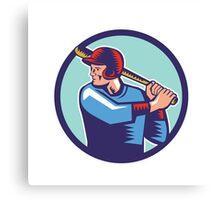 Baseball Player Batter Batting Circle Woodcut Canvas Print