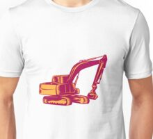 Mechanical Digger Excavator Woodcut Unisex T-Shirt