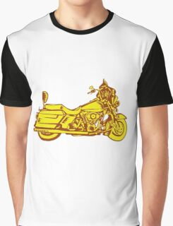 Motorcycle Motorbike Woodcut Graphic T-Shirt