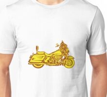 Motorcycle Motorbike Woodcut Unisex T-Shirt