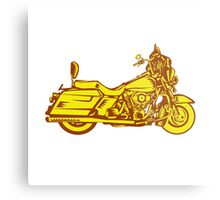 Motorcycle Motorbike Woodcut Metal Print