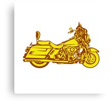 Motorcycle Motorbike Woodcut Canvas Print