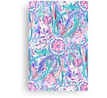 Boho Flower Burst in Pink and Teal Canvas Print