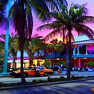 Dan ART MIAMI Yellow Taxi Cab Sunset Street Scene by Dan Forder